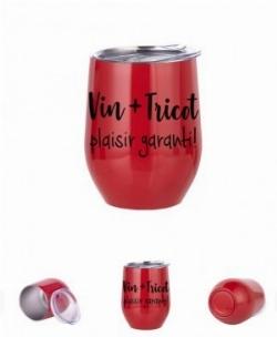 Verre à vin aluminium rouge Vin + Tricot! plaisir garanti