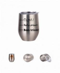 Verre à vin aluminium argent: Oups! Mailles perdues! Beau tricot!